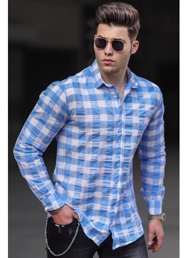 Madmext   Erkek Gömlek 4941 Mavi